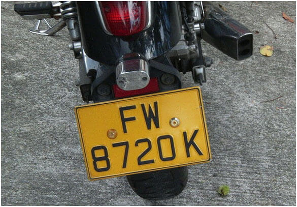 Front and Rear of Number Plate